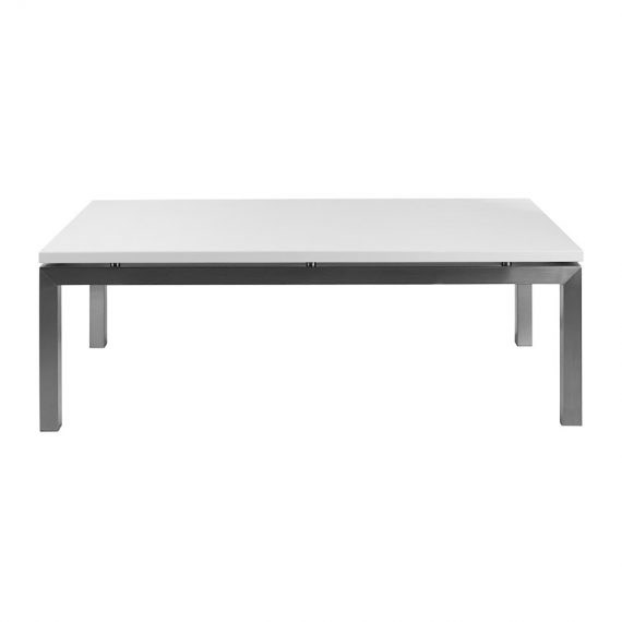 Coffee Table Chrome White Rectangular Hire Society