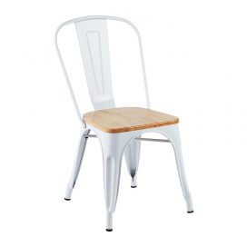 Chair – Tolix White (with Timber Seat)