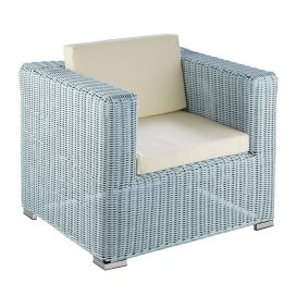 Wicker Lounge – 1 Seater Hamptons Coastal (Duck Egg Blue)