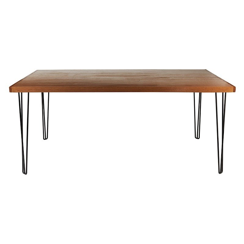dining table hairpin natural top black legs seats 6 10 hire