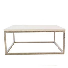 Coffee Table – Chrome & White Square Large