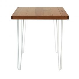 Cafe Table – Hairpin Natural Top White Legs
