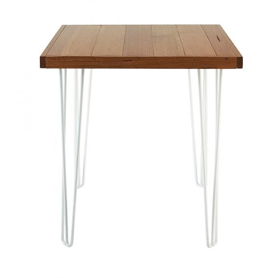 Cafe table hairpin natural top white legs hire society for Hairpin cafe chair