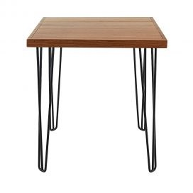 Cafe Table – Hairpin Natural Top Black Legs