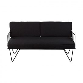 Sofa Lounge – Black Wire 2-Seater with Charcoal Cushions