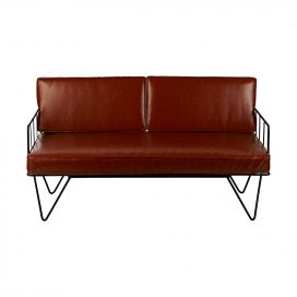 Sofa Lounge – Black Wire 2-Seater with Tan Cushions