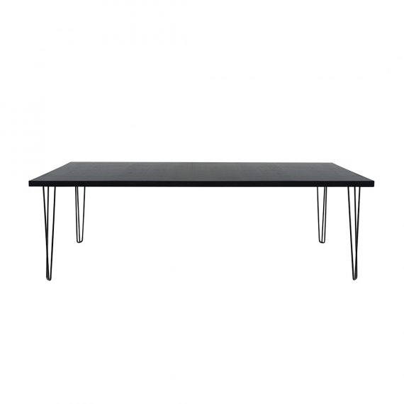 dining table banquet hairpin black top black legs seats 8 12