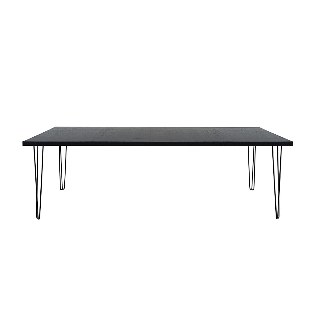 Dining Table Banquet Hairpin Black Top Black Legs Seats 8 12 Hire Soc