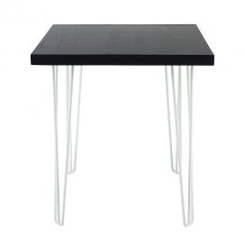 Cafe Table – Hairpin Black Top White Legs