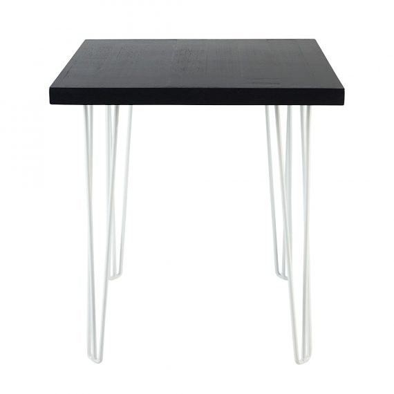 Cafe table hairpin black top white legs hire society for Hairpin cafe chair