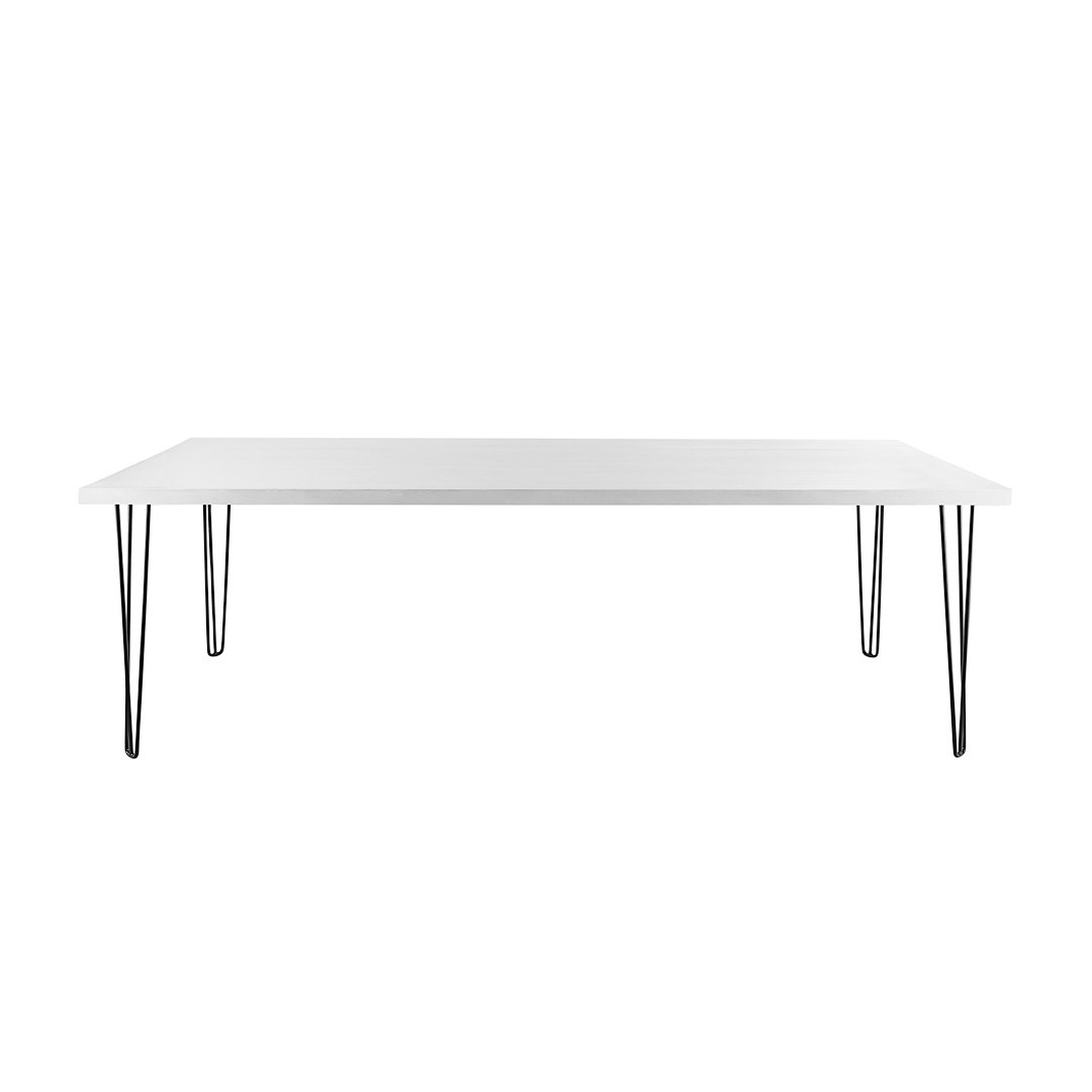 Dining Table Banquet Hairpin White Top Black Legs Seats 8 12 Hire Soc