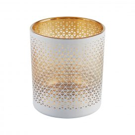 Tea Light Holder - White Geometric