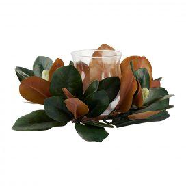 Wreath - Magnolia with Hurricane Vase