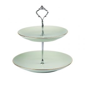 Cake Stand – Vintage Green 2 Tier