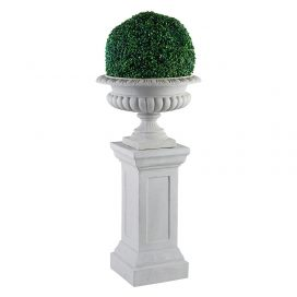 Urn and Pillar with Topiary – Stone White