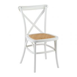 Chair – Cross Back Hamptons White (with Wicker Seat)
