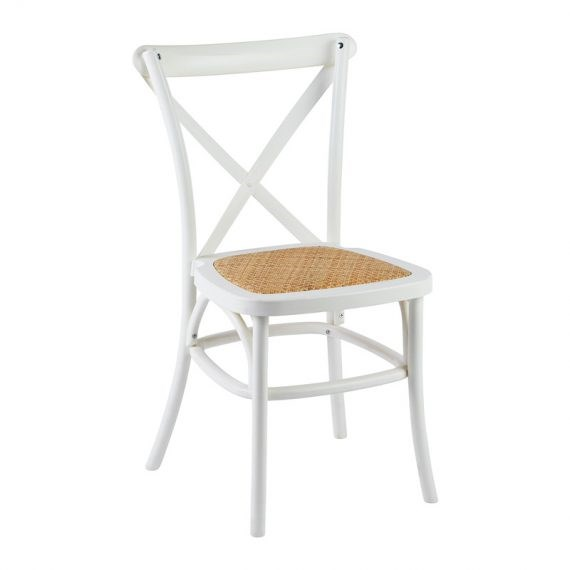Chair U2013 Cross Back Hamptons White (with Wicker Seat)