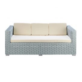 Wicker Lounge – 3 Seater Hamptons Coastal (Duck Egg Blue)