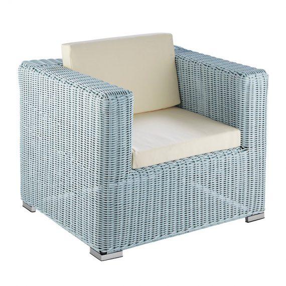 Wicker Lounge – 1 Seater Hamptons Coastal (Duck Egg Blue)