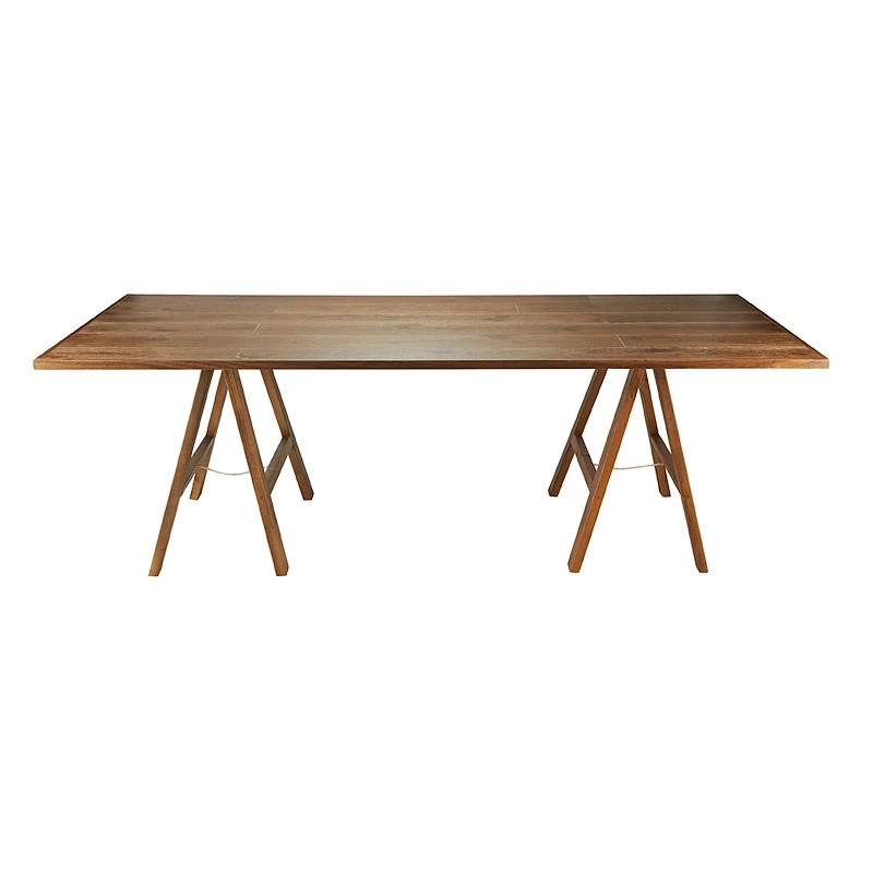 Trestle Table Banquet Timber Dark Hire Society