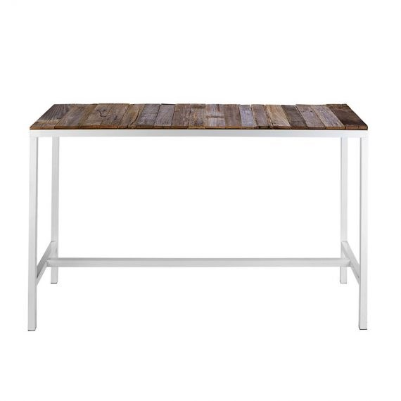 Bench Bar Table – White with Rustic Insert