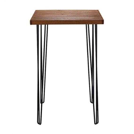 Dry Bar Table – Hairpin Natural Top (Square) Black Legs