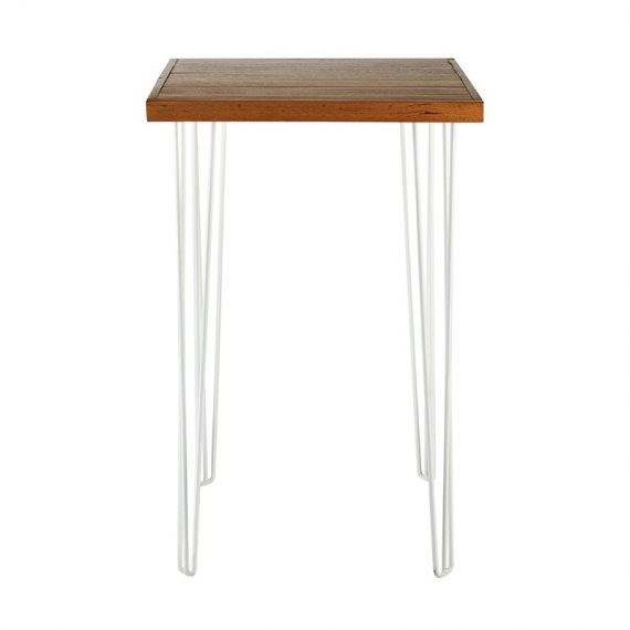 Dry Bar Table – Hairpin Natural Top (Square) White Legs