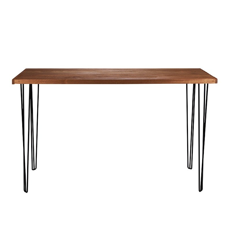 Long Coffee Table Legs: Hairpin Natural Top Black Legs