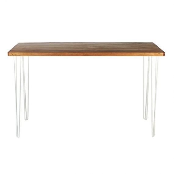 Bench Bar Table – Hairpin Natural Top White Legs