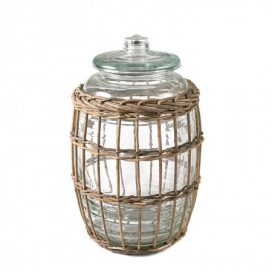Jar with Wicker Basket – Round Tall