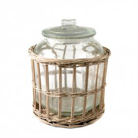 Jar with Wicker Basket – Round Wide