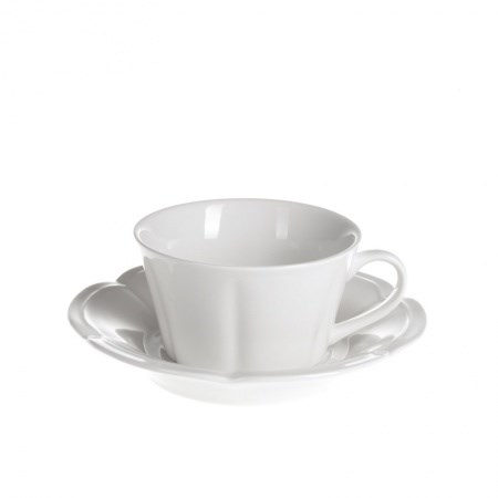 Cup and Saucer – Scalloped White