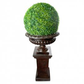 Urn and Pillar with Topiary – Brown