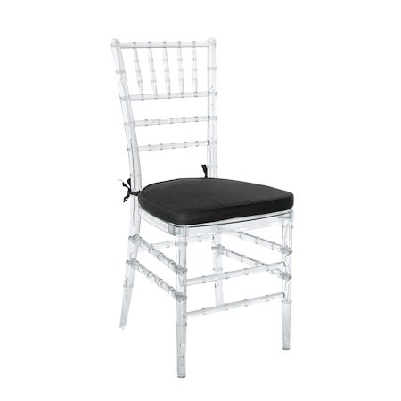 Chair – Tiffany Champagne/Clear (with Black Seat)