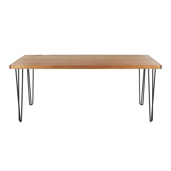 Occasional Table – Hairpin Natural Top Black Legs