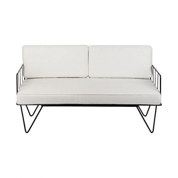 Sofa Lounge – Black Wire 2-Seater with White Cushions