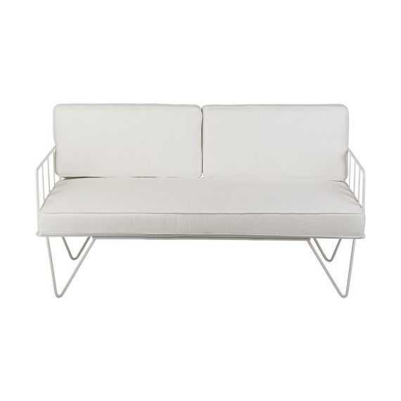 Sofa Lounge – White Wire 2-Seater with White Cushions