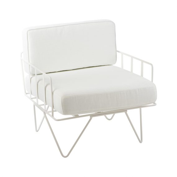 Sofa Lounge – White Wire Single Seater Chair with White Cushions