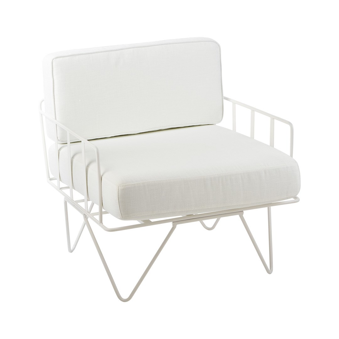 Sofa Lounge White Wire Single Seater Chair With White