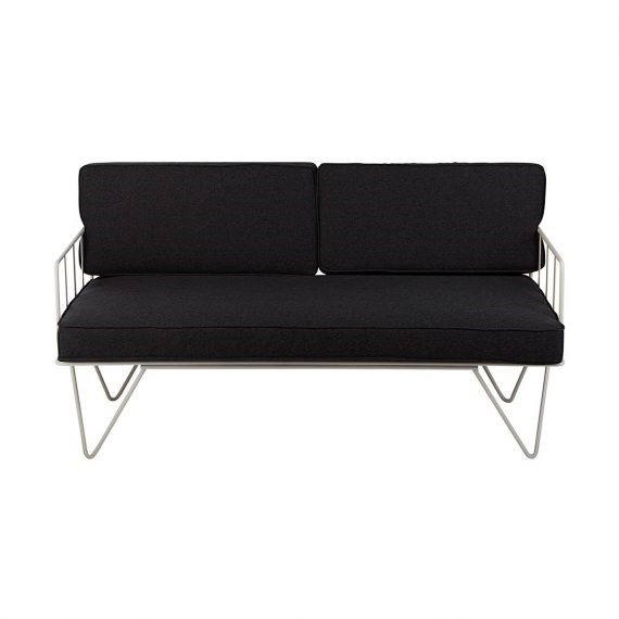 Sofa Lounge – White Wire 2-Seater with Charcoal Cushions