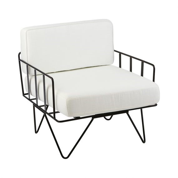 Sofa Lounge – Black Wire Single Seater Chair with White Cushions