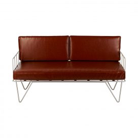 Sofa Lounge – White Wire 2-Seater with Tan Cushions