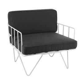 Sofa Lounge – White Wire Single Seater Chair with Charcoal Cushions