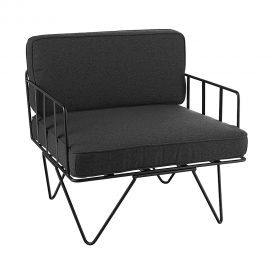 Sofa Lounge – Black Wire Single Seater Chair with Charcoal Cushions