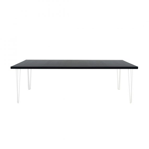 Dining Table – Banquet Hairpin Black Top White Legs [Seats 8 – 10]