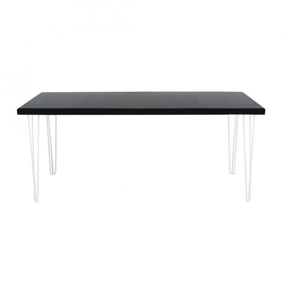 Occasional Table – Hairpin Black Top White Legs