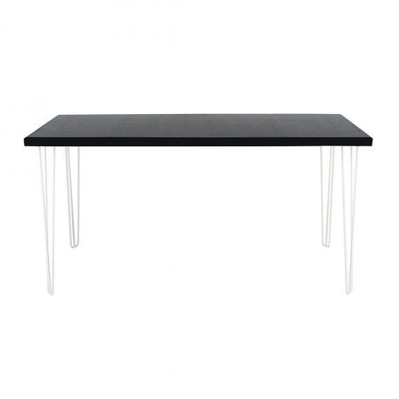 Bench Bar Table – Hairpin Black Top White Legs