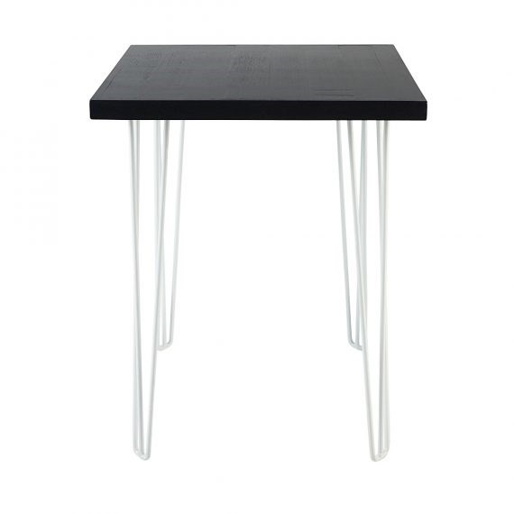 Dry Bar Table – Hairpin Black Top (Square) White Legs