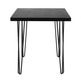 Cafe Table – Hairpin Black Top Black Legs