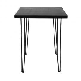 black dry bar table with wirepins